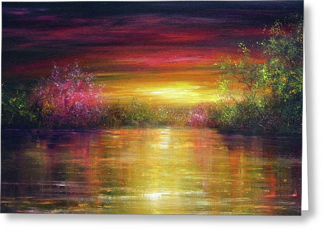 Spring Sunset Greeting Card by Ann Marie Bone