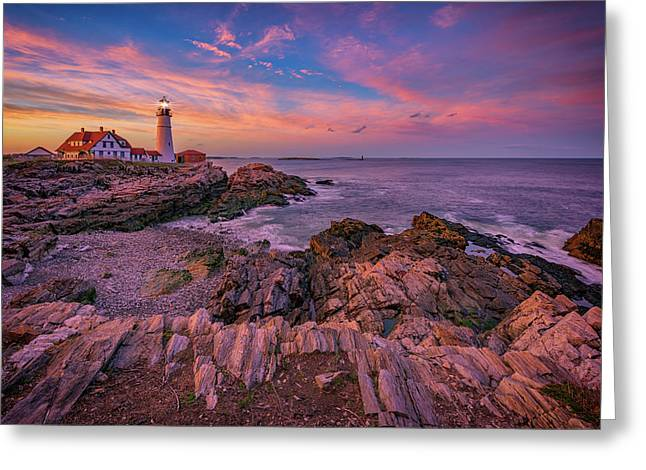 Spring Sunset At Portland Head Lighthouse Greeting Card by Rick Berk