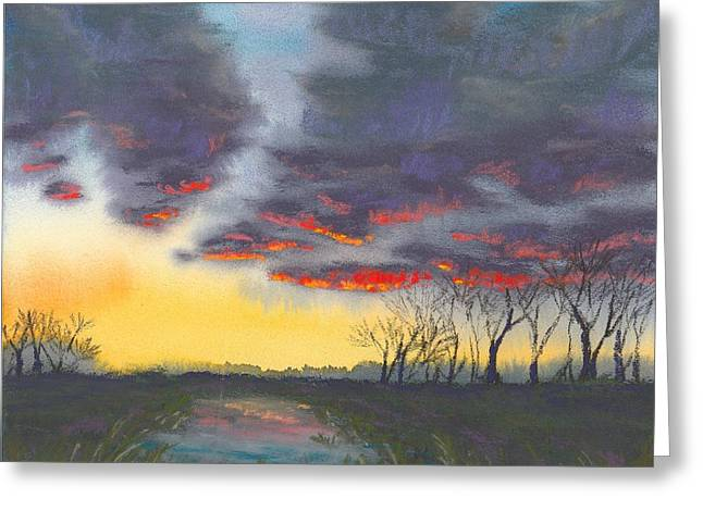 Spring Sunset Greeting Card by Christine Camp