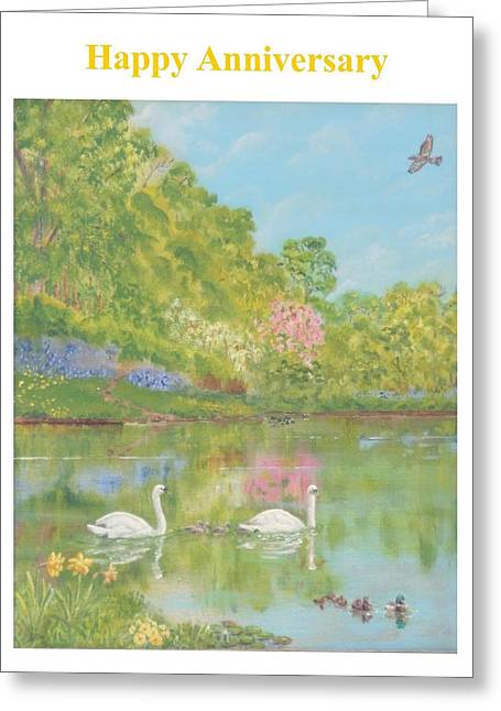 Spring Swans Anniversary Card Greeting Card by David Capon