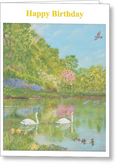 Spring Swans Birthday Greeting Card by David Capon