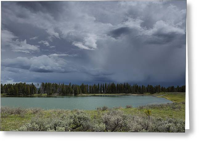 Spring Thunderstorm At Yellowstone Greeting Card