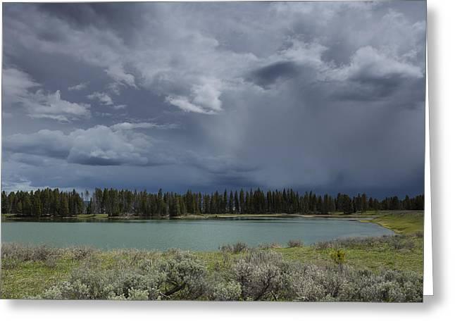 Spring Thunderstorm At Yellowstone Greeting Card