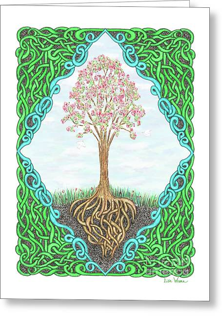 Greeting Card featuring the drawing Spring Tree With Knotted Roots And Knotted Border by Lise Winne