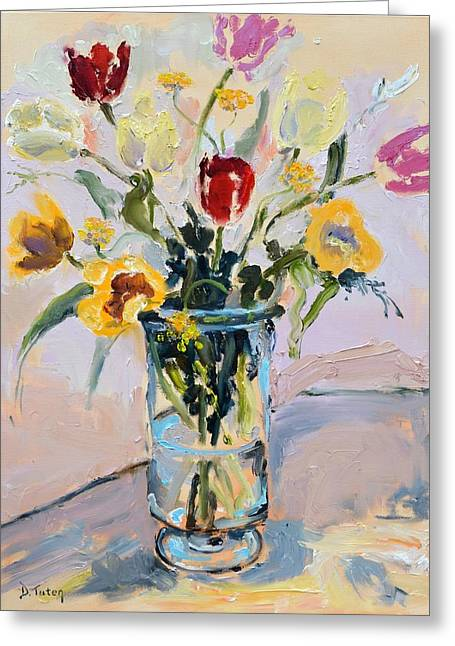 Spring Tulip Bouquet Still Life Greeting Card