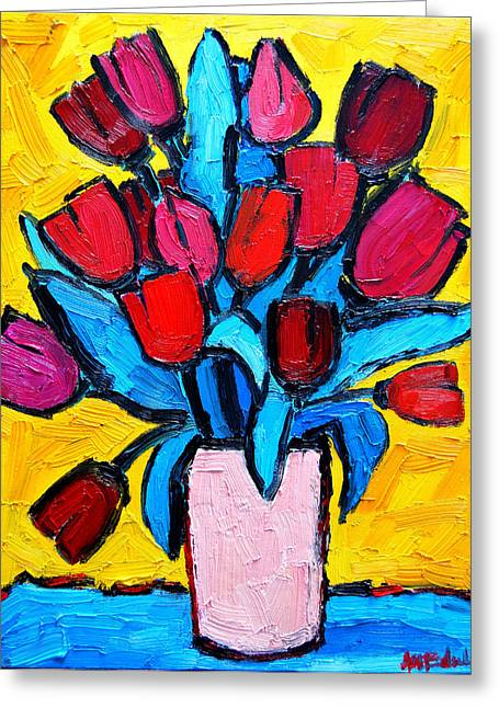 Spring Tulips Greeting Card by Ana Maria Edulescu
