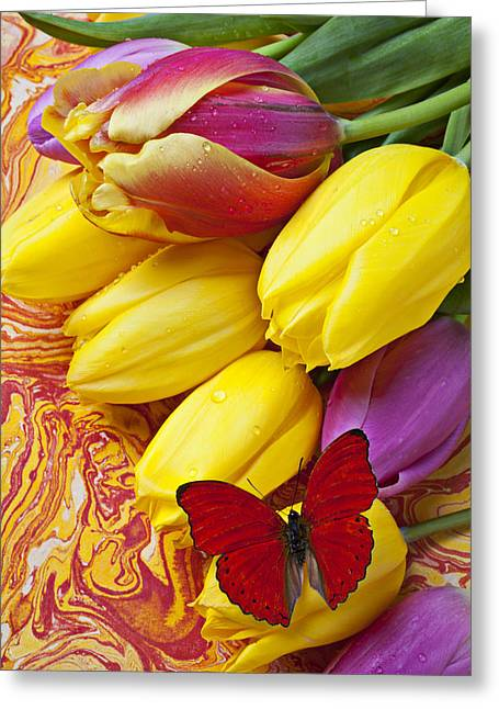 Table-cloth Greeting Cards - Spring tulips Greeting Card by Garry Gay