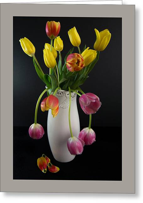 Spring Tulips In Vase Greeting Card