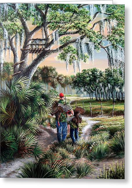 Spring Turkey Hunting - I Love You Son Greeting Card by Daniel Butler