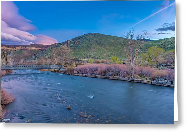 Spring Twilight Along The Truckee River Reno Nevada Greeting Card