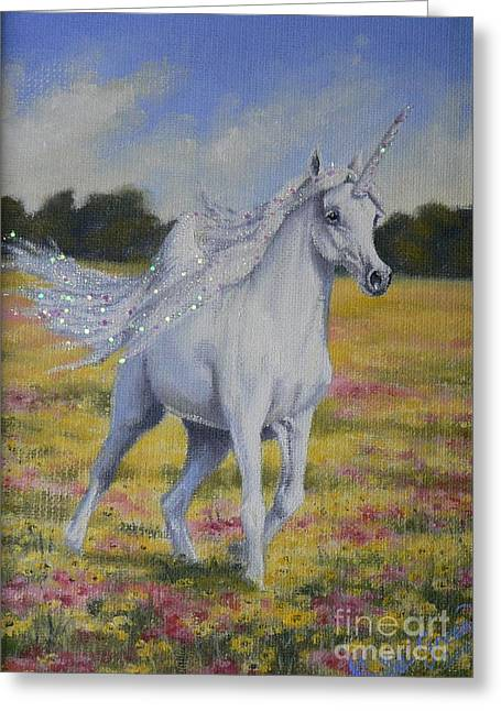 Spring Unicorn Greeting Card by Louise Green