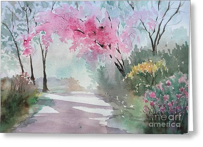 Spring Walk Greeting Card by Yohana Knobloch