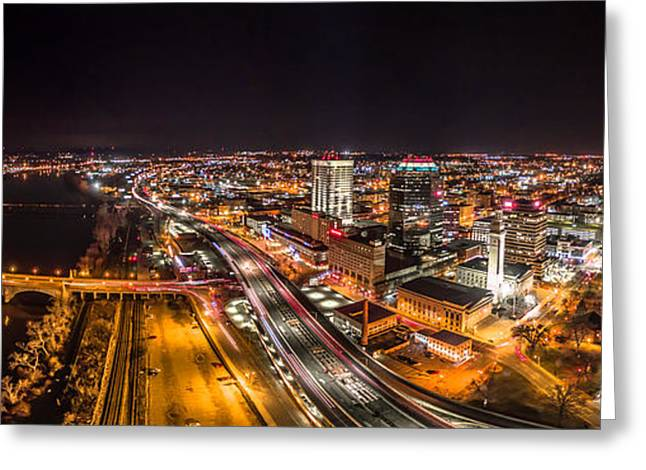 Greeting Card featuring the photograph Springfield Massachusetts Night Long Exposure Panorama by Petr Hejl