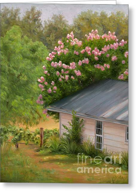 Springhouse Greeting Card by Christa Eppinghaus