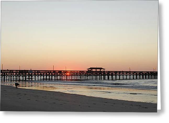 Springmaid Pier Sunrise Greeting Card