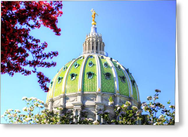 Greeting Card featuring the photograph Spring's Arrival At The Pennsylvania Capitol by Shelley Neff