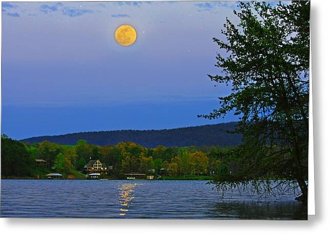 Spring's First Full Moon Smith Mountain Lake Greeting Card