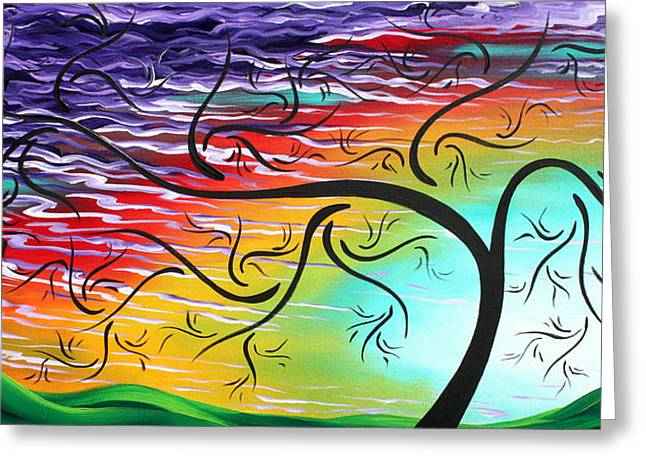 Springs Song By Madart Greeting Card by Megan Duncanson