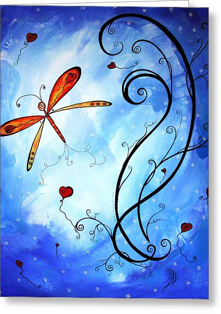 Springs Sweet Song Original Madart Painting Greeting Card by Megan Duncanson