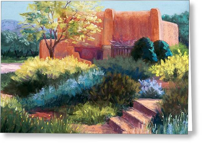 Southwest Pastels Greeting Cards - Springtime Adobe Greeting Card by Candy Mayer