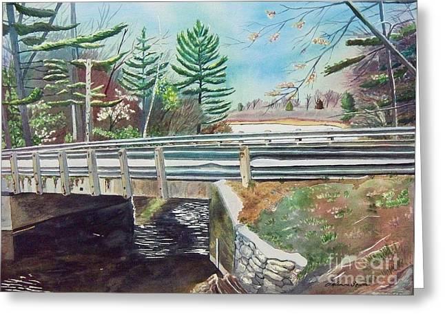 Springtime At Bass Lake Bridge Greeting Card