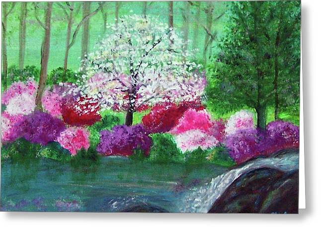 Greeting Card featuring the painting Springtime Azaleas In Georgia by Sonya Nancy Capling-Bacle