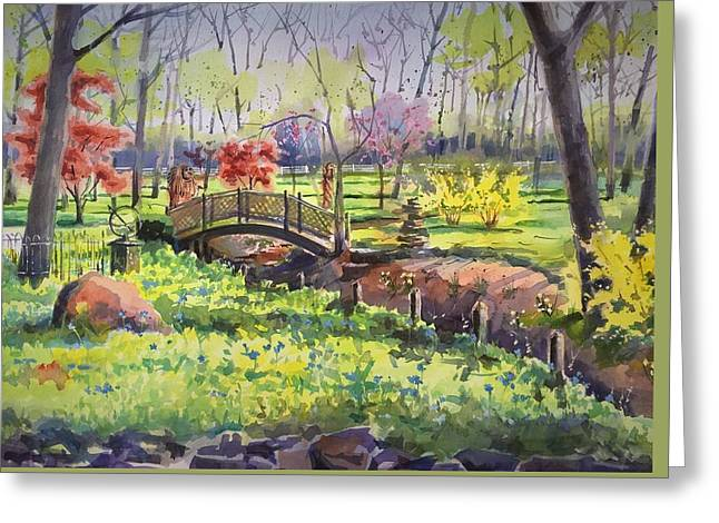 Springtime Backyard Greeting Card by Spencer Meagher