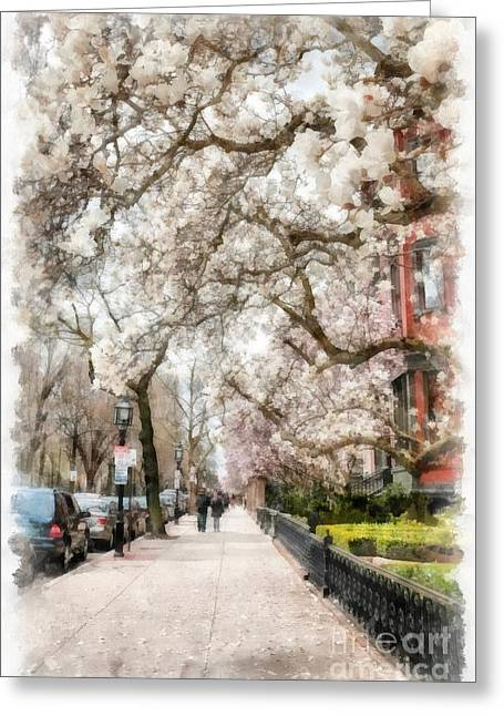 Springtime Boston Back Bay Greeting Card by Edward Fielding