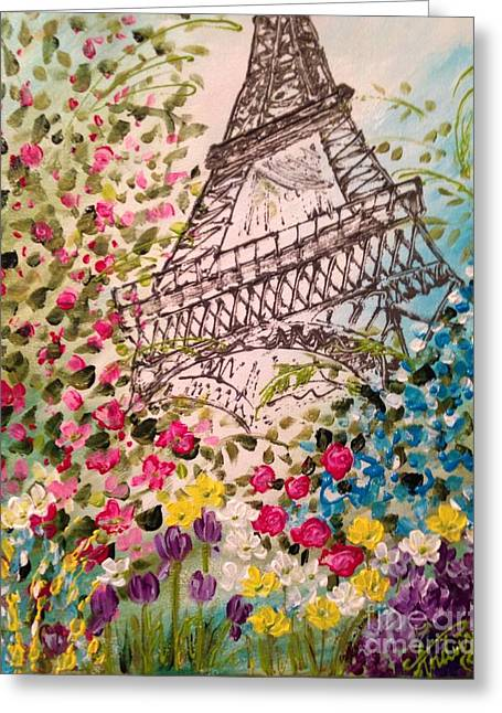 Springtime In Paris Greeting Card by Angela Anderson