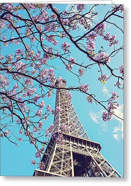 Springtime In Paris - Eiffel Tower Photograph Greeting Card by Melanie Alexandra Price