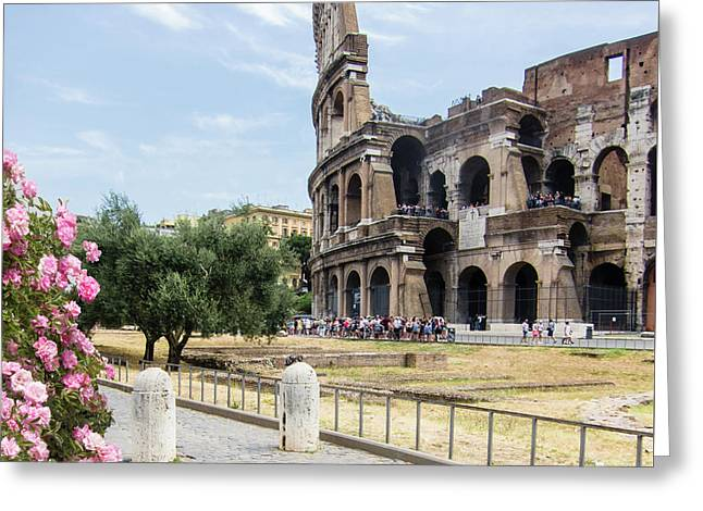 Springtime In Rome Coliseum And Tourists Greeting Card
