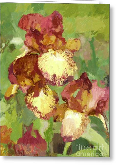 Springtime Iris Greeting Card by Susan  Lipschutz