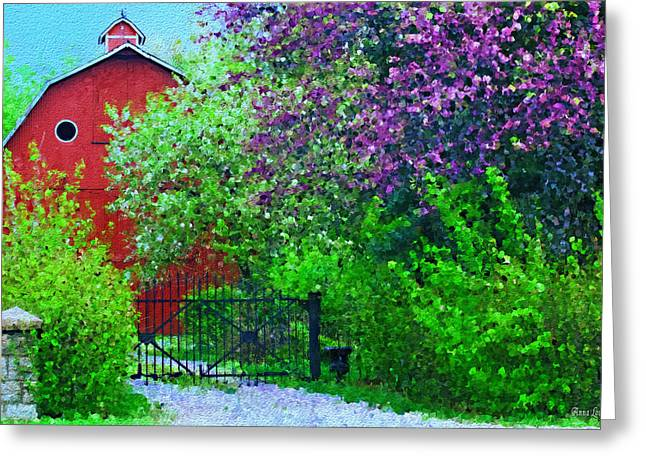 Springtime Red Barn Greeting Card by Anna Louise