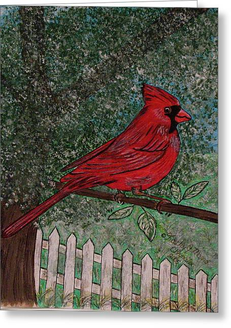 Greeting Card featuring the painting Springtime Red Cardinal by Kathy Marrs Chandler