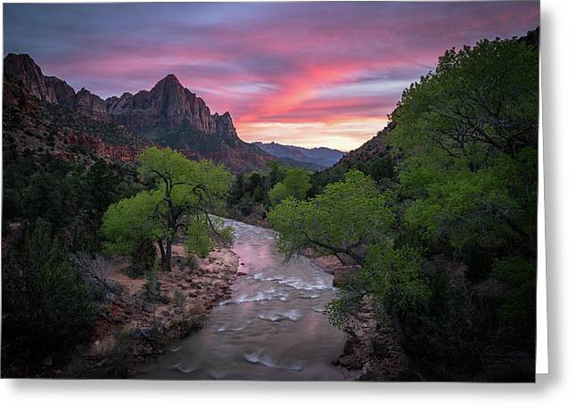 Springtime Sunset At Zion National Park Greeting Card