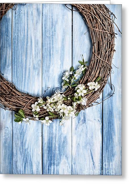 Springtime Wreath Greeting Card by Amanda Elwell