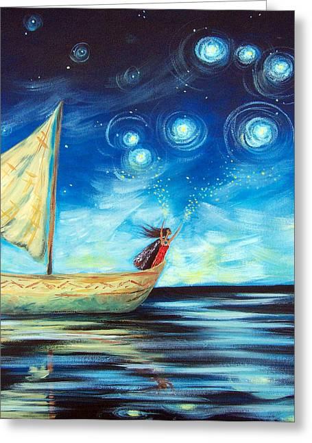 Kirk Paintings Greeting Cards - Sprinkling Stars at Matariki  Greeting Card by Ira Mitchell-Kirk