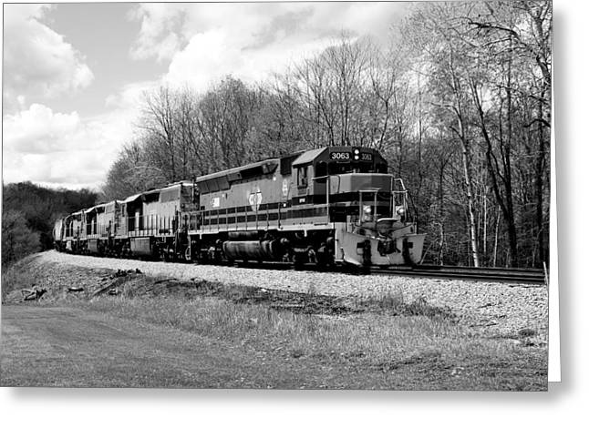 Sprintime Train In Black And White Greeting Card