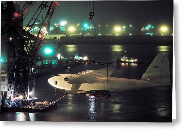 Spruce Goose Hanging From Crane February 10 1982 Greeting Card