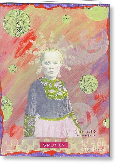 Greeting Card featuring the mixed media Spunky Got Funky by Desiree Paquette
