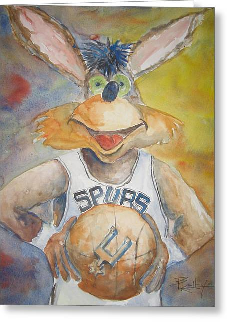 Spurs Coyote Greeting Card by Barbara Kelley