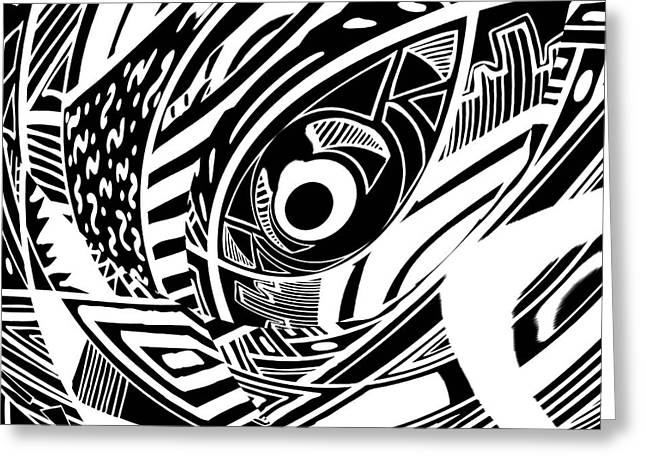 Spy Eye - Abstract Black And White Graphic Drawing Greeting Card by Nenad Cerovic