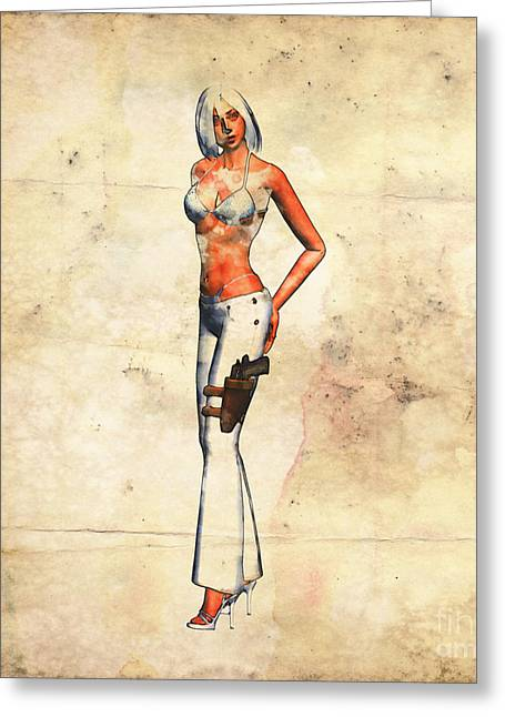 Spy Girl Pop Art By Mary Bassett Greeting Card