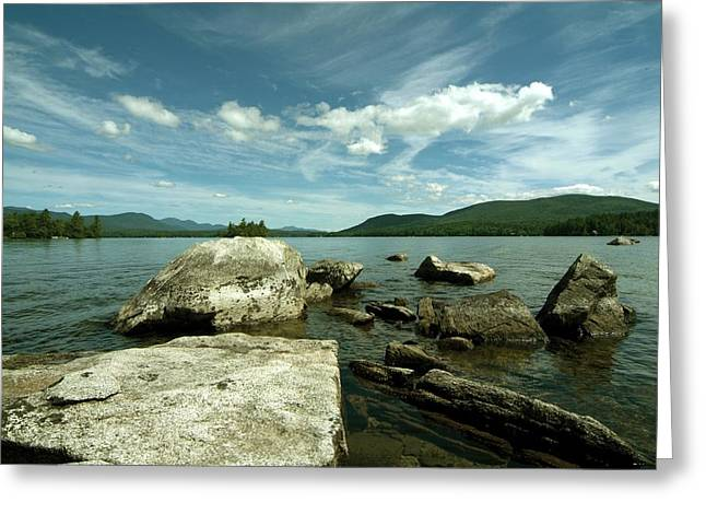 Greeting Card featuring the photograph Squam Lake On The Rocks by Rick Frost