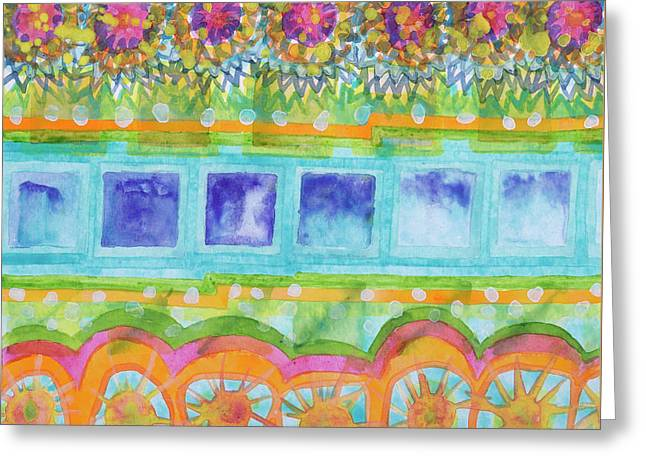 Square And Flower Lines Pattern Greeting Card by Heidi Capitaine