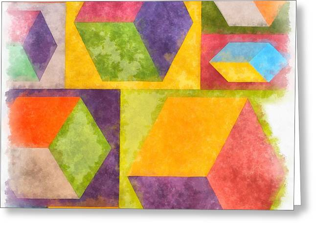 Square Cubes Abstract Greeting Card