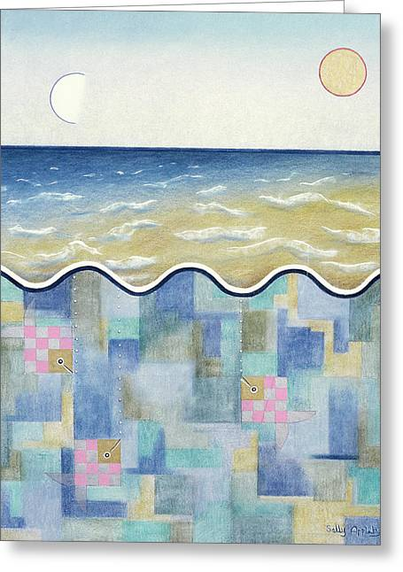 Square Fish And Sea Greeting Card by Sally Appleby