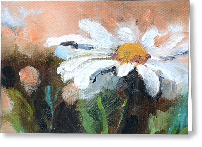 Square Format Daisy Painting Greeting Card