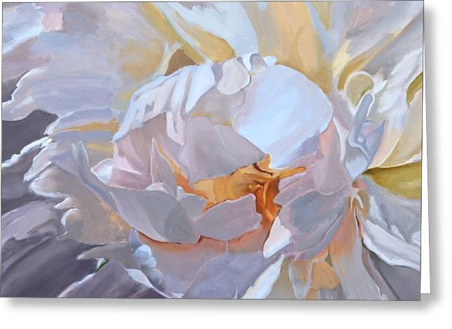 Square Format Peony Painting Greeting Card