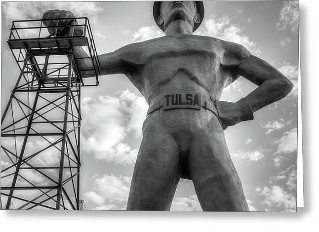 Greeting Card featuring the photograph Square Format Tulsa Oklahoma Golden Driller - Black And White by Gregory Ballos